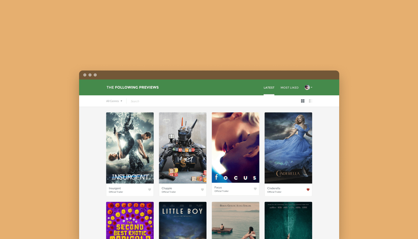 Screenshot of The Following Previews homepage